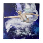 Mermaid with Dolphin Tile or Trivet