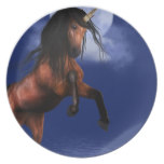 Moonlit Unicorn Melamine Plate
